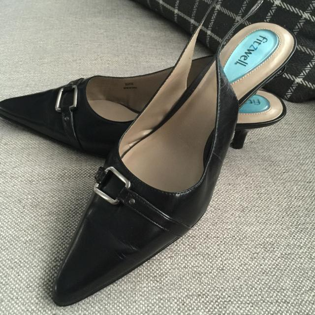 Best Sling Back Kitten Heel Dress Shoes 9 1 2ww Black Fitzwell Bought In Zappos Worn Once For Sale Philadelphia Pennsylvania 2019