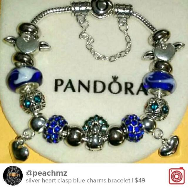 6777048cc7c silver heart clasp blue charms bracelet