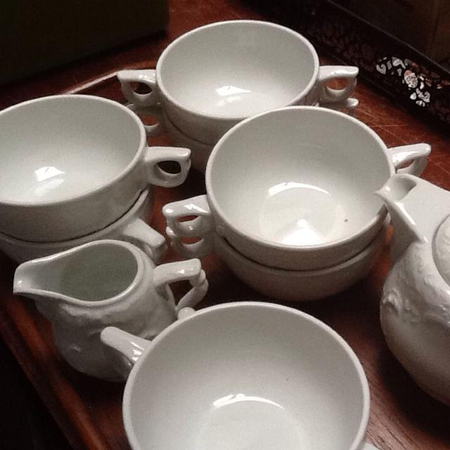 Vintage Rosenthal China Tea Set and Cream Soup Bowls from 1940's