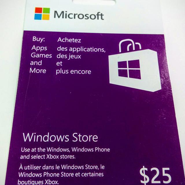 Microsoft Windows store gift card $25