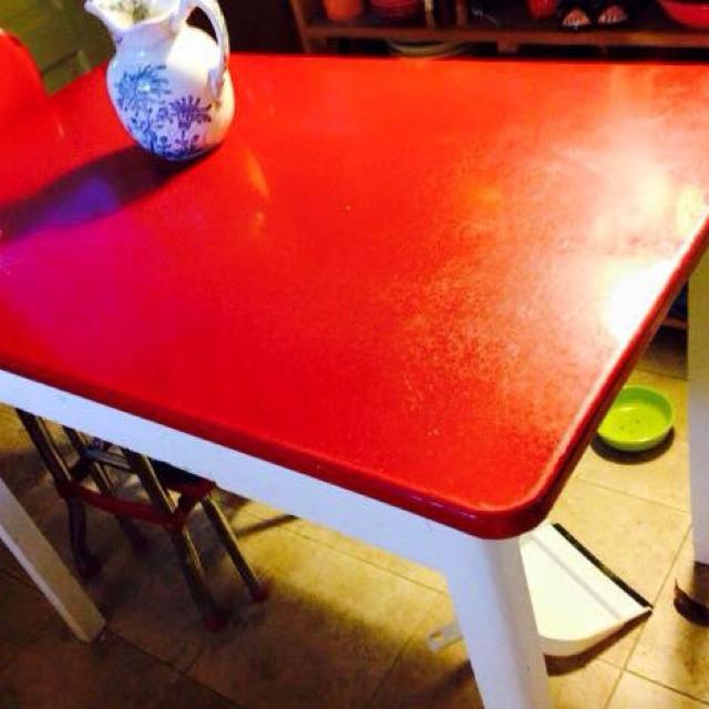 Find More 1940s Red Enamel Top Table With White Wooden Base And Drawer Can Be Used As Kitchen Or A Desk For Sale At Up To 90 Off
