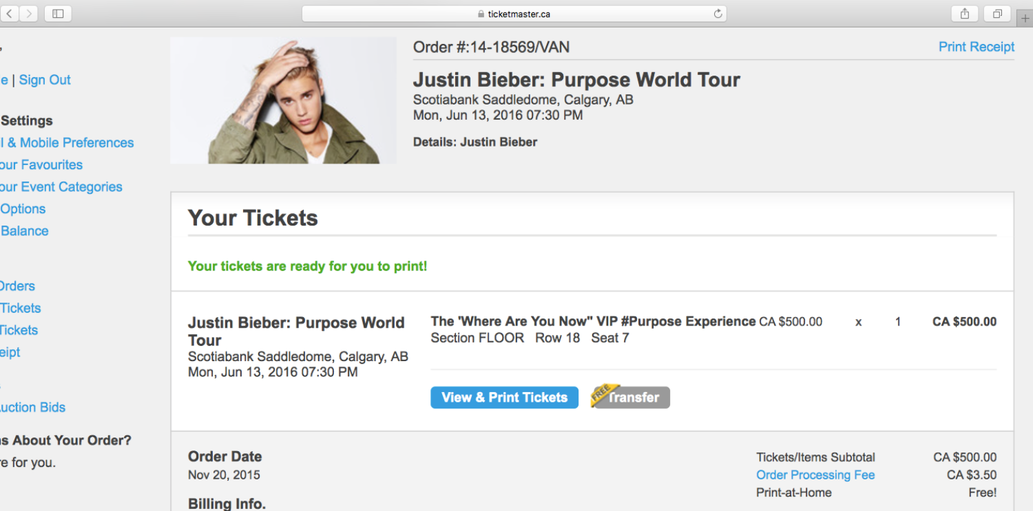 Best 400 justin bieber vip ticket for sale in calgary alberta for 2018 m4hsunfo
