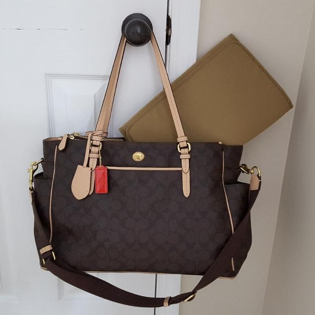 2e1d9df0 Coach Peyton Brown Signature Multifunction CarryAll Tote