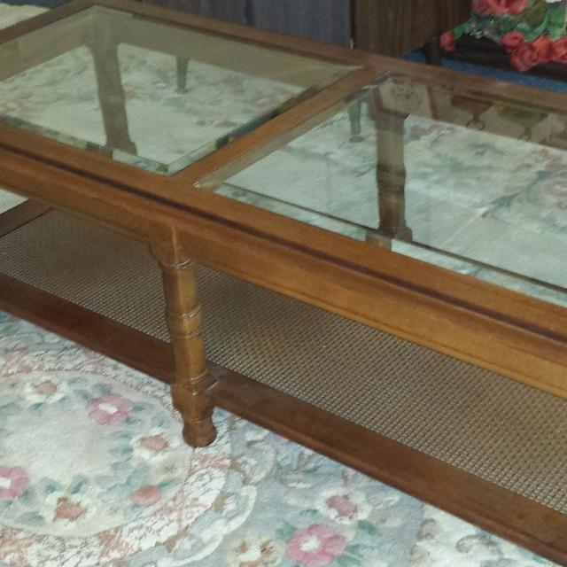 Best Mid Century Wood Coffee Table 1 Rectangle Table 1 Octagon End All W Beveled Glass Inserts For Sale In Gardner Kansas For 2021