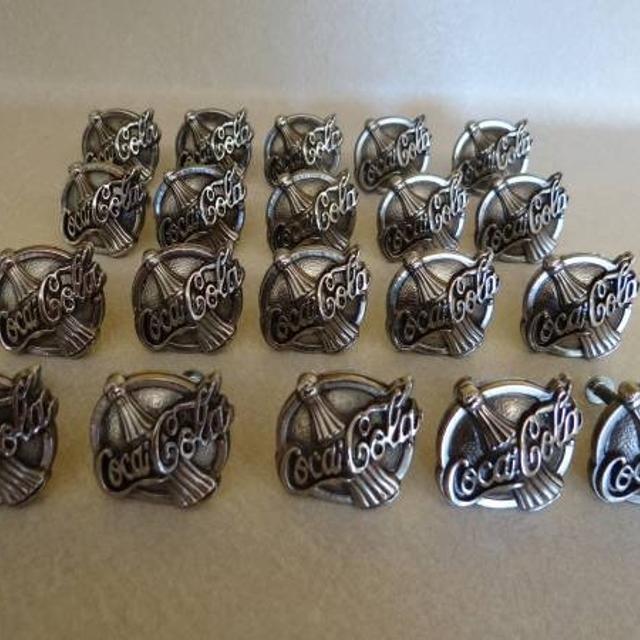 BELWITH retired Coca Cola cast metal cabinet hardware, $10 each. 20 drawer  pulls,