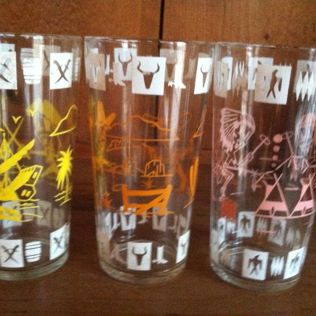 Best Two Vintage Hazel Atlas Children Fantasy Cowboy Pirate Glass Tumbler  1950's for sale in Ashland City, Tennessee for 2019