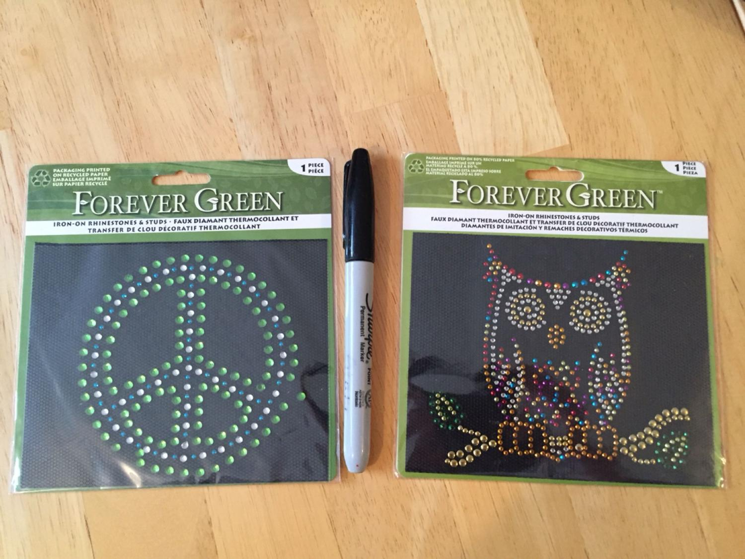 NEW 2 iron on rhinestone & stud transfers - clear backing (the black is  just packaging) - pen for scale - $2 each or both for $3