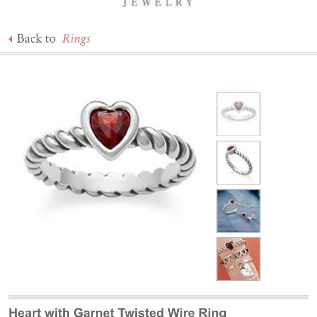 Find More James Avery Garnet Heart Twisted Wire Ring For Sale At Up To 90 Off