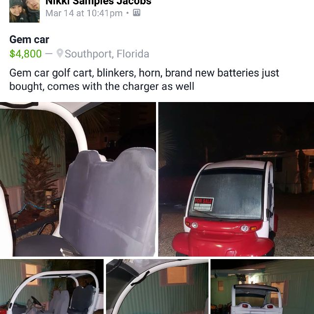 Best Gem Cart for sale in Panama City, Florida for 2018 Golf Cart Batteries Panama City Florida on daytona beach golf carts, ez go golf carts, florida golf carts, old golf carts, fargo golf carts, destin golf carts, sayulita golf carts, corpus christi golf carts, houston golf carts, myrtle beach golf carts, georgia golf carts, isla mujeres golf carts, key west golf carts,