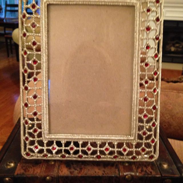 4x6 Picture Silver Red Crystal Frame In Mint Condition Can Use Standing Upright Or Turn To The Side See Comments