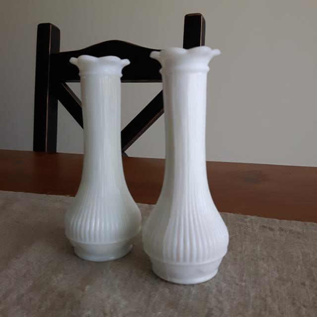Find More 2 Each Vintage Milk Glass Bud Vase By Randall Euc