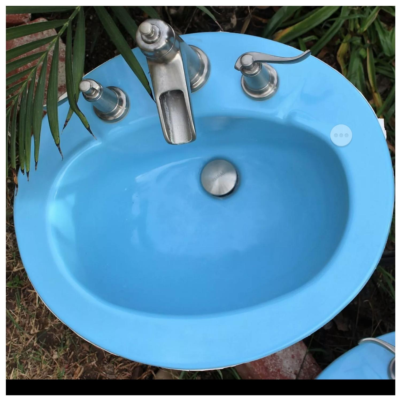Best Vintage Over Mount Bathroom Sink Retro Salvage Sinks Farmhouse ...