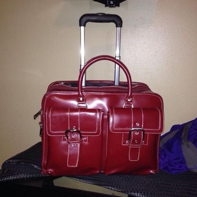 Franklin Covey Red Leather Rolling Bag