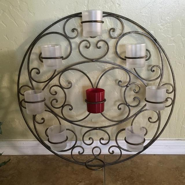 Best Wrought-iron Wall Decor Candle Holder. Missing Bottom Candle ...