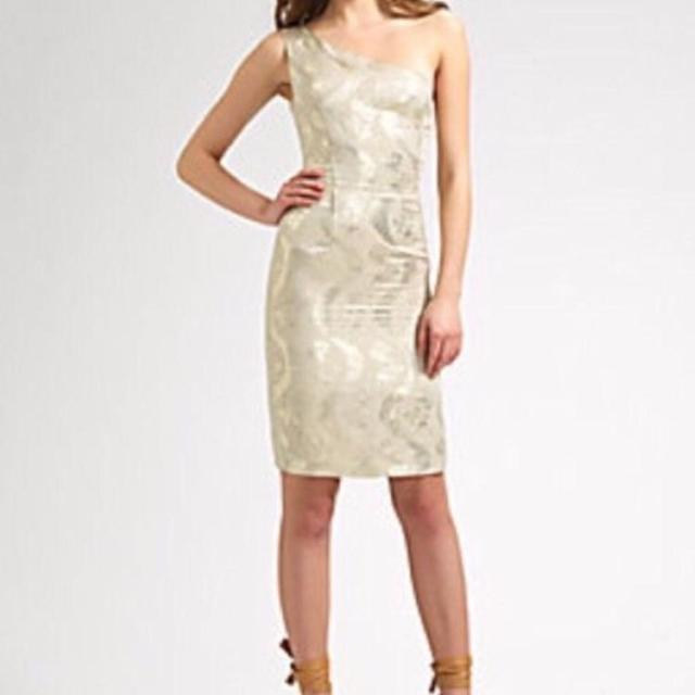 b80319784cc Best Nwt Tory Burch Ardell Dress Ivory   Gold Metallic Linen One Shoulder  Dress Size 6-8. for sale in Hendersonville
