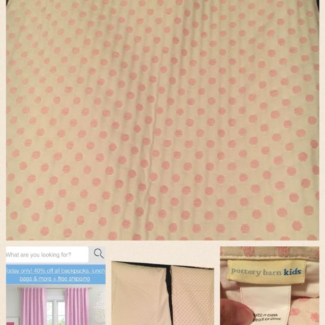 Pottery Barn Kids White W Pink Polka Dots Blackout Curtain Panels Set Of 2