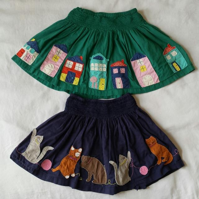 82972478b1d5 Find more 2 Girl's Mini Boden Skirts Sz 7-8 Blue Green Cats Houses ...