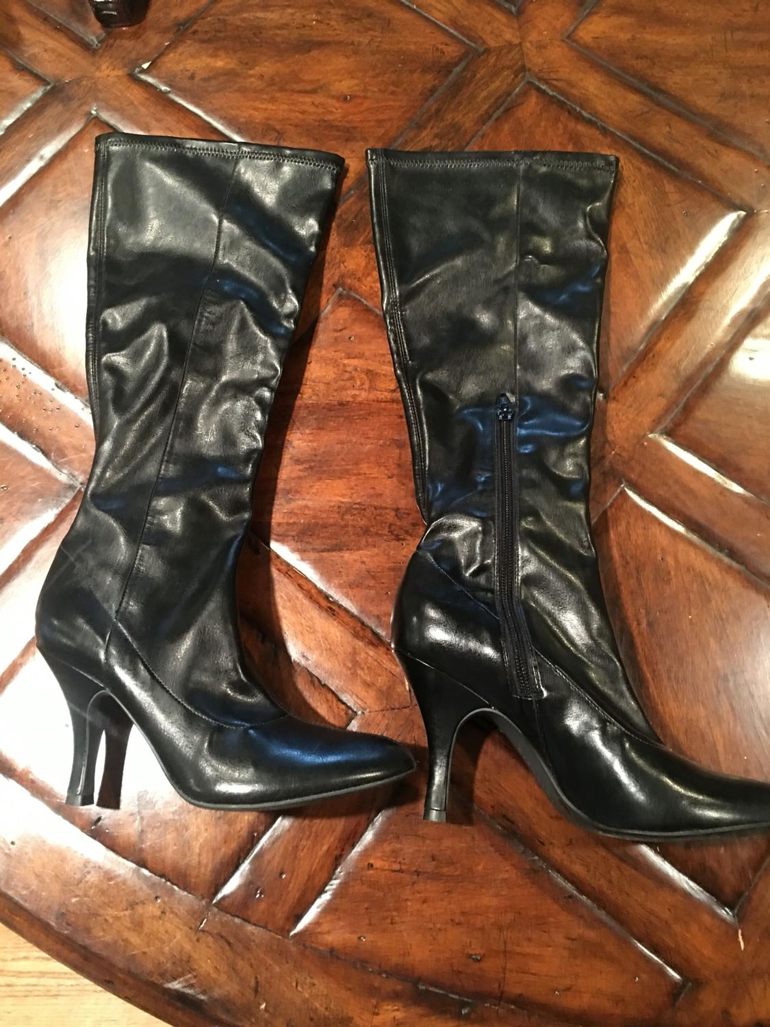 21731d20f1b Find more Reduced-women s Tall Black Leather Heel Boots With Zipper ...