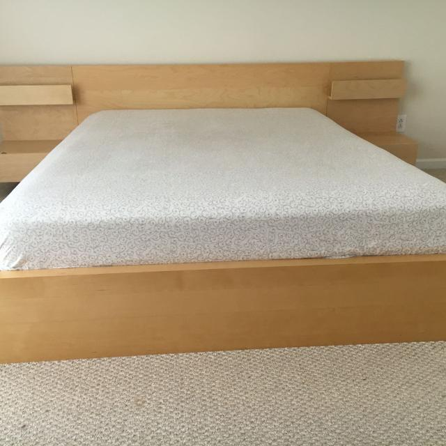 Ikea Queen Malm Bed With Night Standattress Great Condition