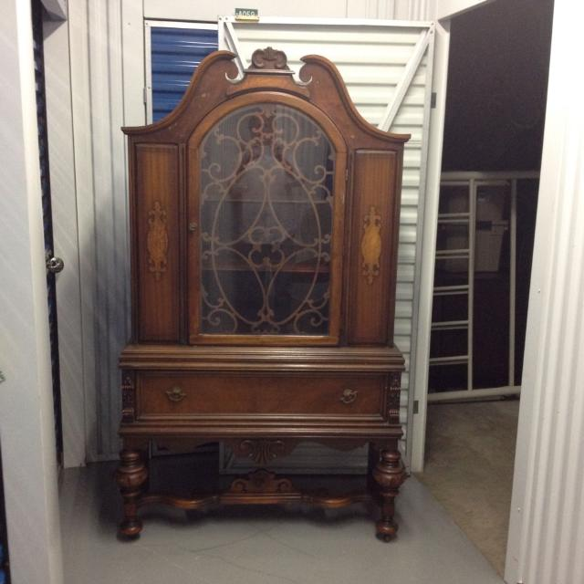 **reduced to $285Antique china cabinet - door has decorative wood/wire  design - Find More **reduced To $285antique China Cabinet - Door Has
