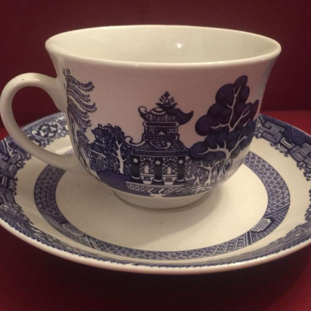 Royal Oak Blue Willow China Tea Cup And Saucer Sets 4 Cups Saucers