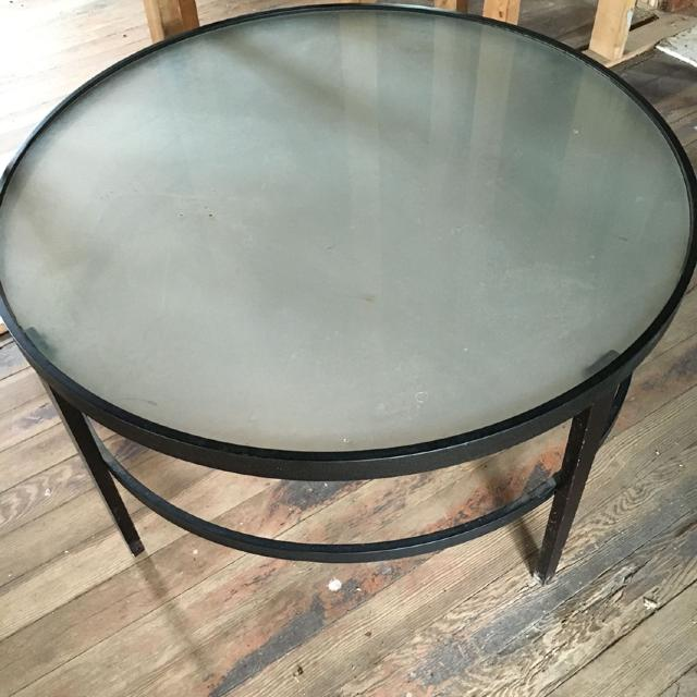 Gl Frosted Coffee Table Steel Stand 36 Inches Long 20 High