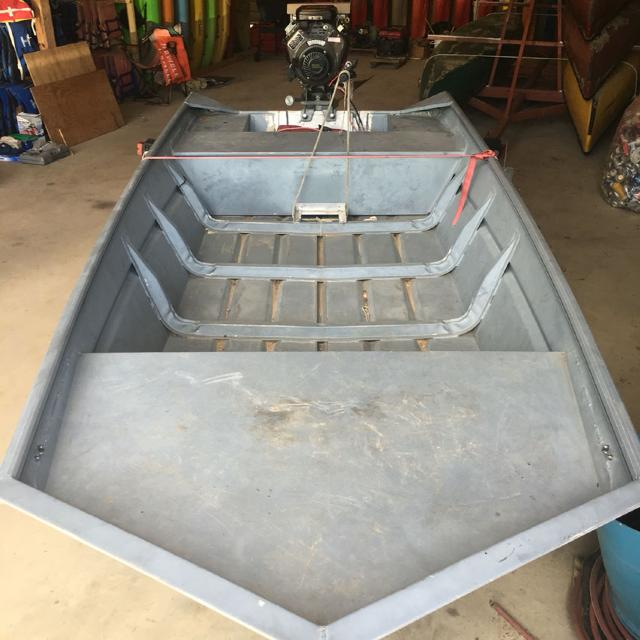 1448 aluminum all weld sea ark boat with 23 hp go devil surface drive and  trailer