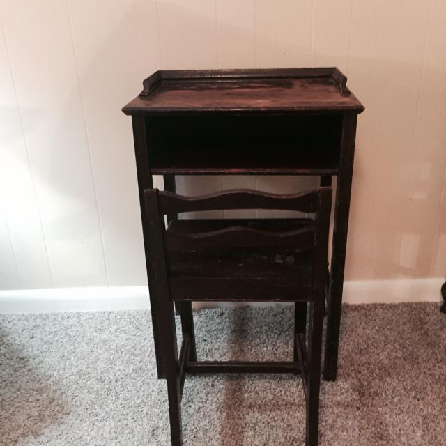 Antique telephone table with chair/child's desk and chair. Needs refinishing - Find More Antique Telephone Table With Chair/child's Desk And Chair