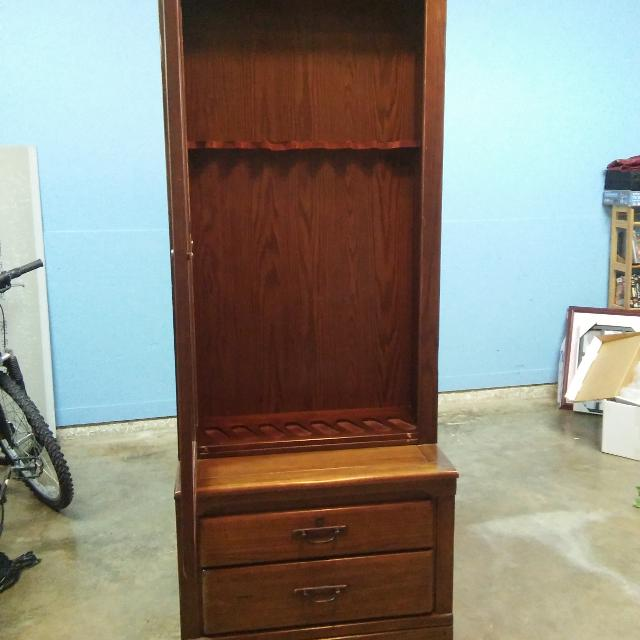 Find More Oak Solid Wood 8 Gun Cabinet By Harryson Furniture Glass