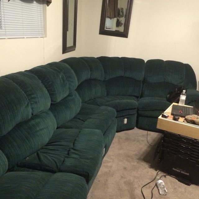 GREEN SECTIONAL SOFA -PULL OUT BED & 2 END RECLINERS W/  MODIFICATION(OUTLETS): 1st come 1st serve- $60- a truck - you + 1 other  person.