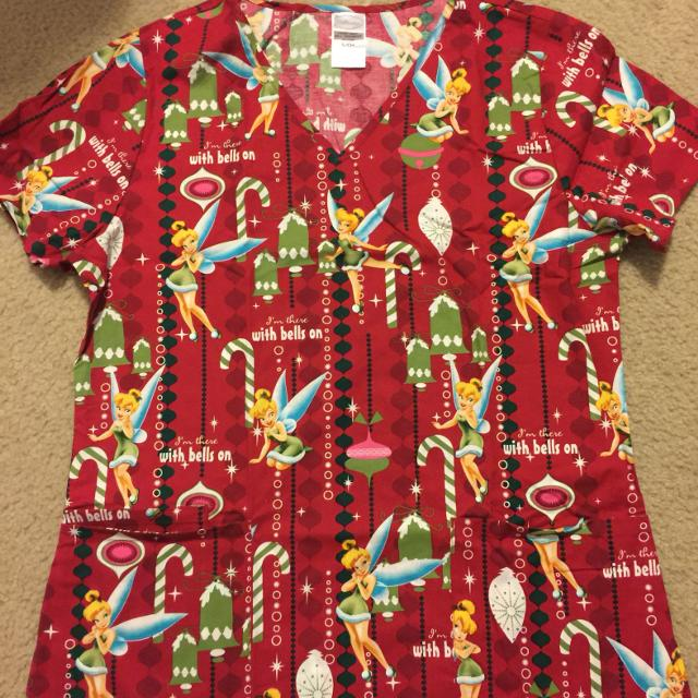 c0995539863 Find more Christmas Tinkerbell Scrub Top. Size S. Never Worn for ...