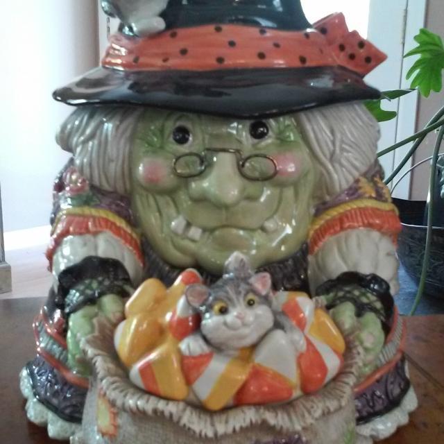 fitz floyd gypsy witch cookie jar