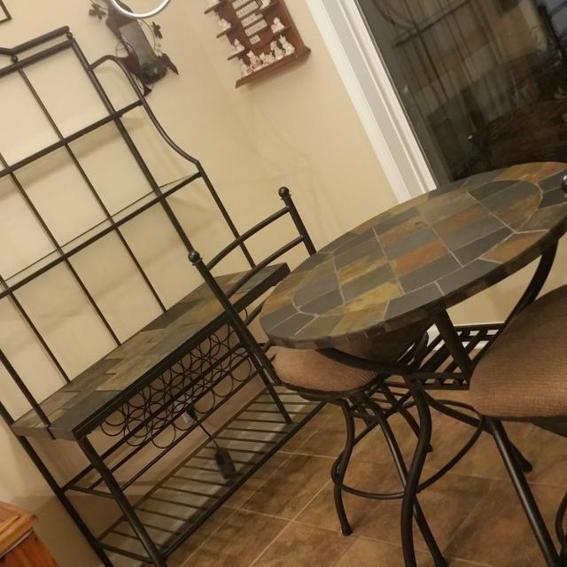 Slate Metal Pub Table Set Baker S Rack