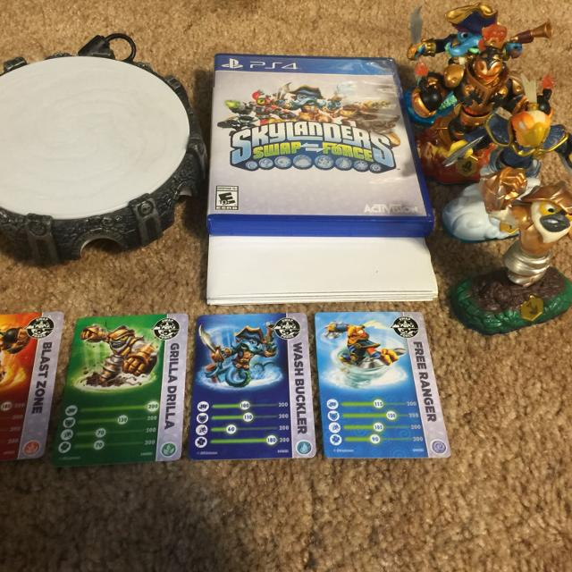 PS4 Skylanders Swap Force set! Includes game, portal, 4 swap force on dora the explorer map, iron man map, sesame street map, batman map, my little pony map, epic mickey map, maplestory map, angry birds map, princess map, world of warcraft map, the simpsons map, adventure time map, call of duty map, star trek map, need for speed map, portal map, winnie the pooh map, assassins creed map, doctor who map, hello kitty map,