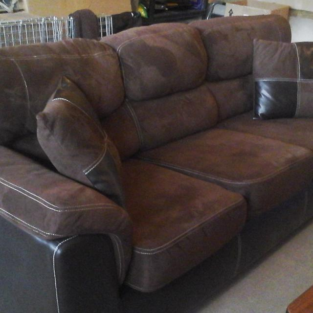 Brown leather & suede sofa in good condition. ..