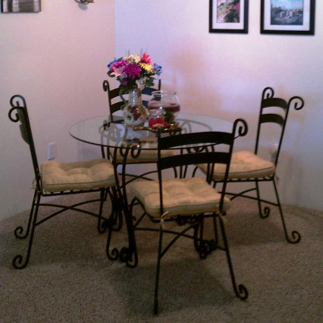 Best Pier One Glass And Wrought Iron Dining Set For Sale In Denver - Glass and wrought iron dining table and chairs