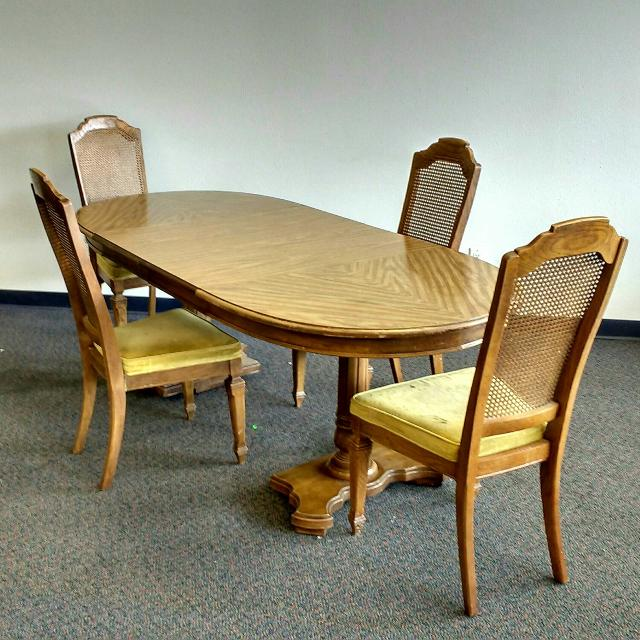 Antique Pedestal Dining Table 4 Chairs Furniture Set
