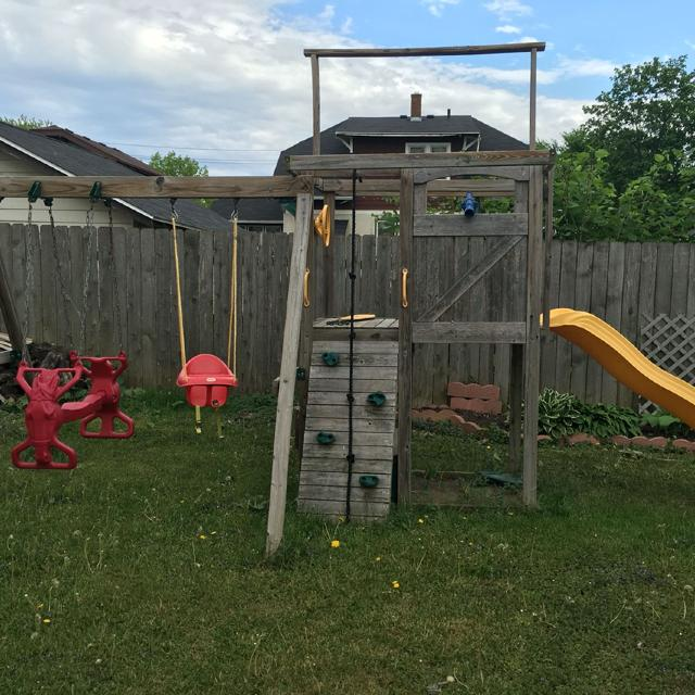 Menards Swing Set Comes With 1 Horse Teeter Totter 1 Yellow Swing 1 Red Infant Swing And 1 Slid