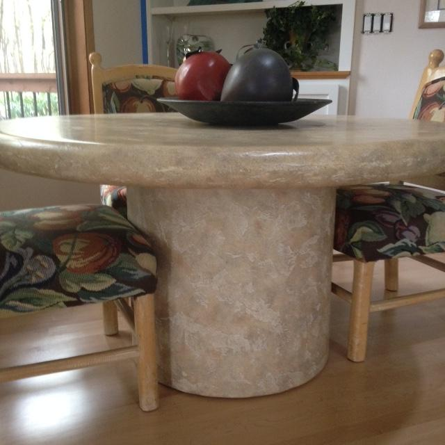 53 Round Faux Travertine Dining Table