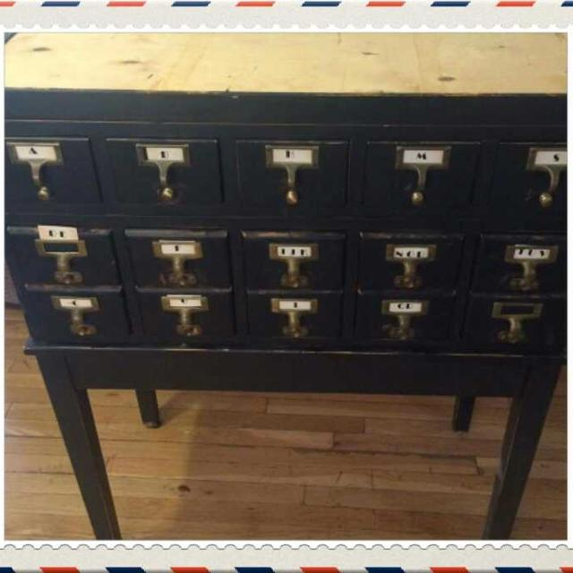 Vintage Library Index Card File Cabinet