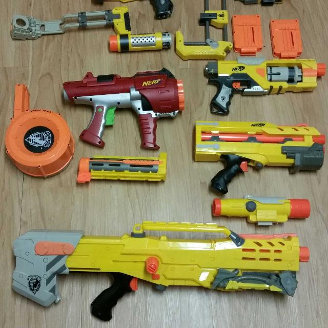 Bin full of brand new water guns nerf guns all used maybe once all for 40