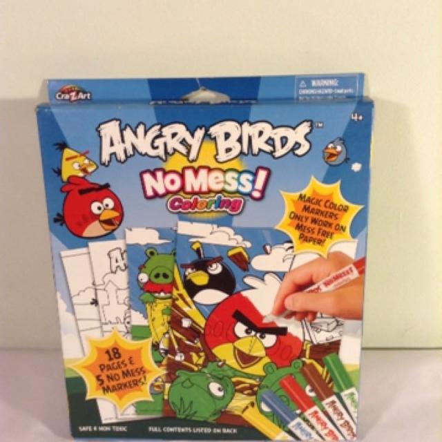 NWT Angry Birds no mess coloring set, 18 pages +5 no mess markers