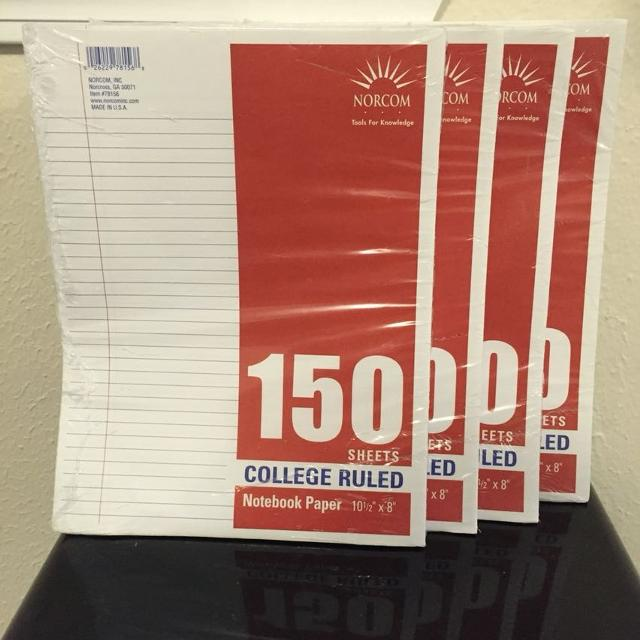 College ruled notebook paper  4 packs, 150 sheets per pack  New, never  opened