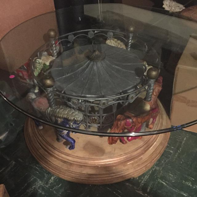 Mid Century Modern Carousel Horse Revolving Coffee Table