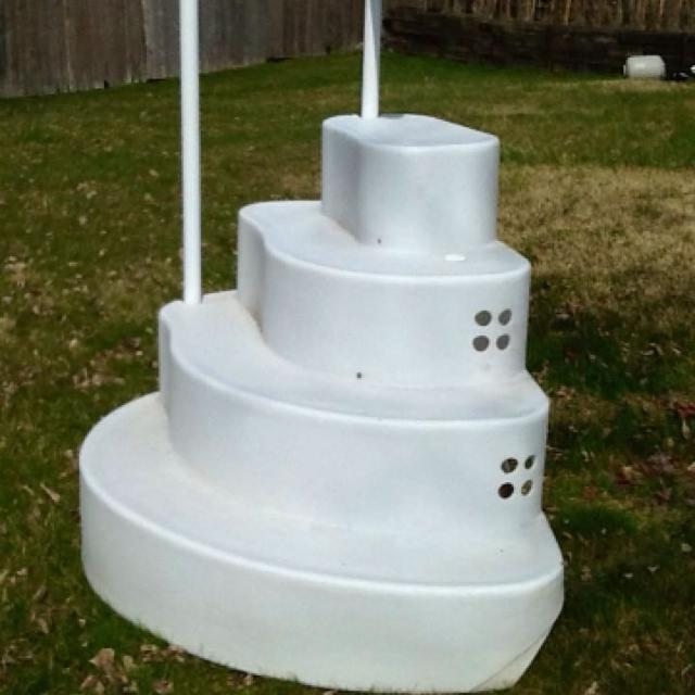 wedding cake pool steps attaches to deck or