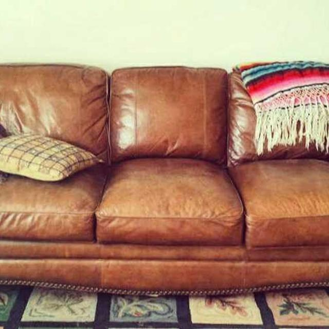 Lowered Price Rustic Brown High Quality Leather Sofa Couch Like New