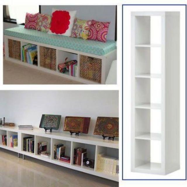 Ikea Expedit 5 Cube Shelf In White 15x17x73 Inches 6 Feet Long
