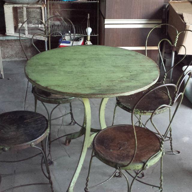 Best Antique Ice Cream Table W 4 Chairs