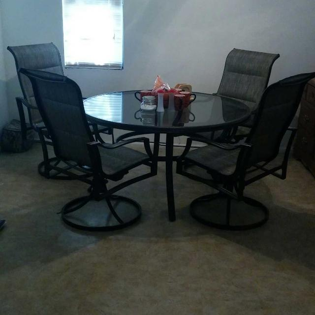 Hampton Bay Statesville Patio Furniture.Hampton Bay Statesville 5 Piece Padded Sling Patio Dining Set With 53 In Glass Top