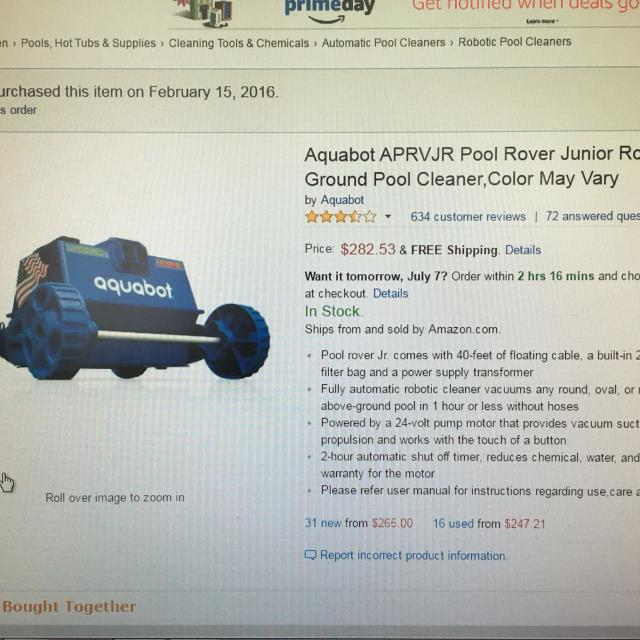 Find More Aquabot Pool Rover Jr Above Ground Pool Cleaner Used A